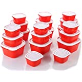 HKC HOUSE Kitchen Combo Plastic Package Container Set, 20-Pieces,Red - Container 750 Ml - 6, Container 375 Ml- 6, Container 225 Ml- 8.
