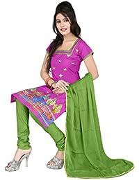 Jheenu Women's Pink Cotton anarkali Embroidered Unstitched Dress Material