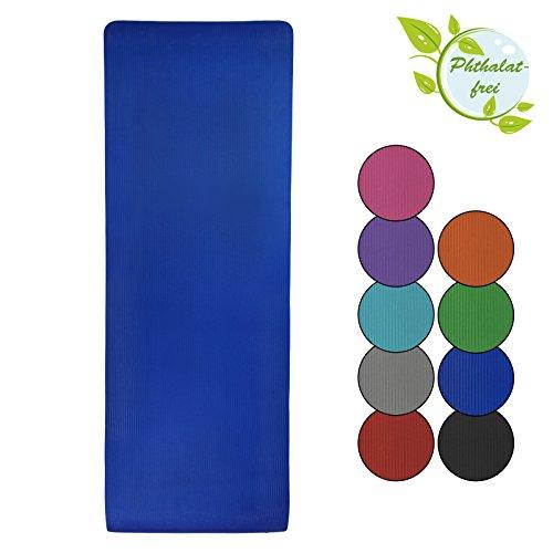 BB Sport Yoga-Matte Yjuna 180 cm x 60 cm x 1.5 cm Yogamatte rutschfest phthalatfrei für Gymnastik Turnen Pilates extra dick, Farbe:Balance Blue