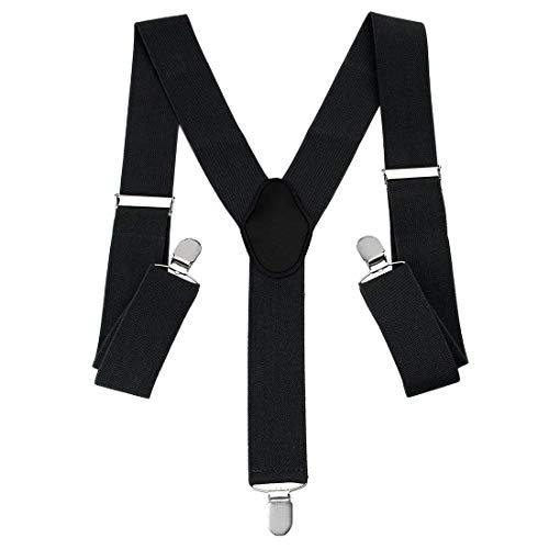 WSS -Black Plain Adjustable Unisex Women Ladies Men Braces 25mm 1