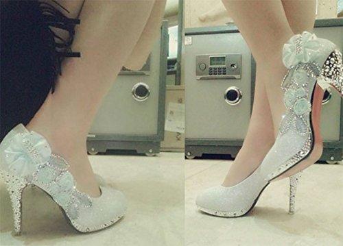 Wealsex Strass Stiletto damen Hochzeitsschuhe Kristall Stiletto high heels rote/Silber Stiletto Silber