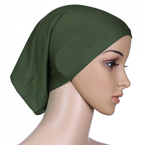 QHGstore Frauen-Kopftuch Elastic Sweat Saugfähige Baumwolle Underscarf Hijab Tube Cap Olive
