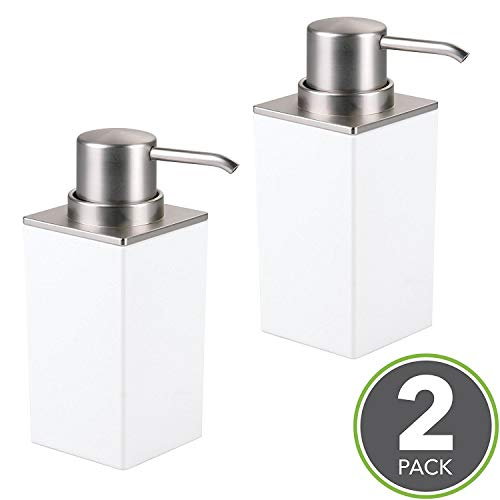 mDesign Set of 2 Bathroom Soap Pump Set - Soap Dispenser Pump for Bathroom Counter Top - Handwash Dispenser for the Bathroom - White / Brushed Nickel