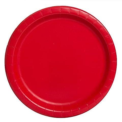 Unique Party - 31453 - Paquet de 16 Assiettes en Carton - 21,9 cm - Rouge