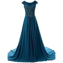 JAEDEN Mangas casquillo Gasa Vestidos de baile Largo Apliques Vestido de noche Vestido de la dama