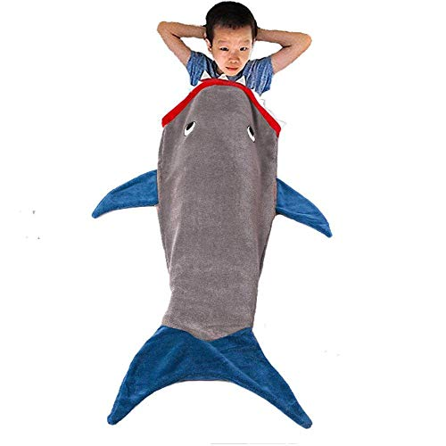 "Shark Blanket Tail For Kids by PePeng, Super Soft and Comfy All Seasons Sleeping Bag Sofa Living Room Quilt, Great Birthday Christmas and Holiday Gifts for Kids (55.9"" x 19.68"", Gray)"