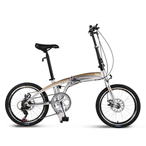 YEARLY Erwachsene klappräder, Schüler klappräder Aluminium-Legierung Shimano 7-Gang Dual scheibenbremsen Männer und Frauen Klappräder-Silber 20inch