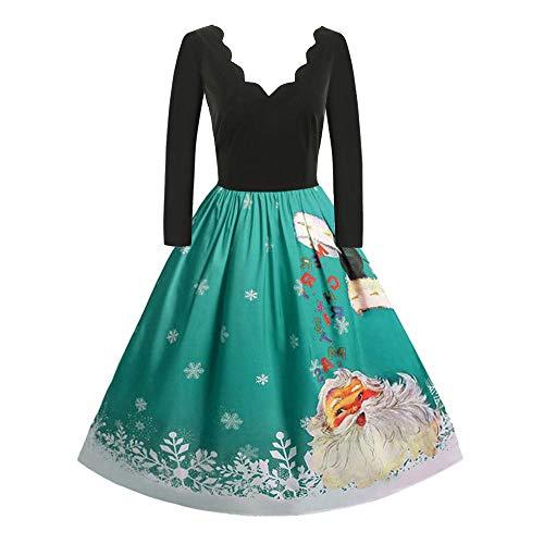 kingko Weihnachten Kleider Frauen Damen Plus Größe Mädchen Langarm Party Kleid Fancy Kostüme Elegant Audrey Hepburn Kleid Langarm A-Linie Partykleider Printkleid Knielang (M, Grün)