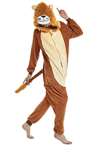 Adulto e bambino unisex unicorno tigre leone volpe tutina animale cosplay pigiama costume di carnevale di halloween fancy dress loungewear (lion, s altezza di 145-155 cm)