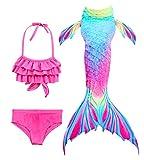 HiFunBay Ragazze Coda da Sirena per Nuotare Bambina Costume da Bagno Incluso 3PCS Bikini (DH52+WJF48,130)