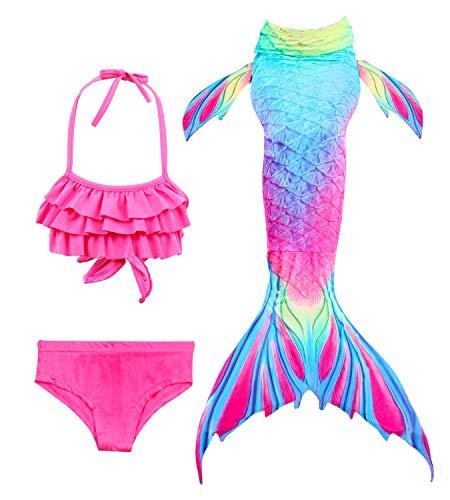 HiFunBay mädchen Meerjungfrau Schwanz Kinder Schwimmen Kostüm Enthalten 3 STÜCKE Bikini Badeanzug (DH52+WJF48,110) (Kinder Für Halloween-kostüm Meerjungfrau)