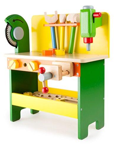Werkbank aus Holz ab 3 Jahren, verschiedene  Holzspielzeuge inkl. Schrauben, Muttern und...