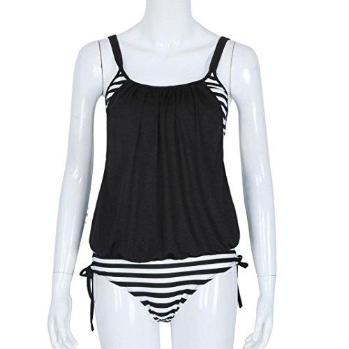 MOKINGTOP Donne A strisce splicing cinghia di spaghetti Bikini Swimsuit,