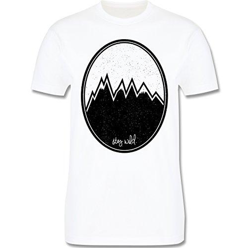 Wildnis - Stay wild. Berge - Herren Premium T-Shirt Weiß