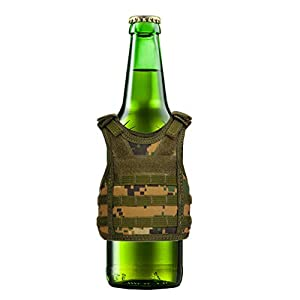 Birra Mini Gilet Regolabile, Unico Tattico Disegno Bottiglia Veste Durevole Mini Vest Accessorio per Partito Camping Picnic Decorazione Set di Bottiglia di Birra