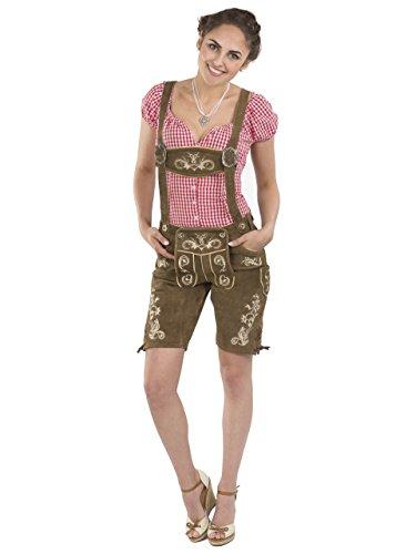 Damen Wiesnzauber Lederhose braun mittellange Trachtenlederhosen Oktoberfest Trachtenhose (44, Dunkelbraun)