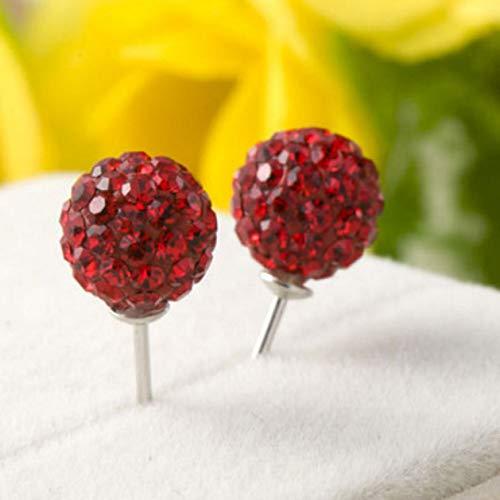 xiaoyamyi modische Ohrstecker 6 mm Kristall Clay Disco Ball für Damen & Mädchen - 6mm: Red (Red Disco Balls)
