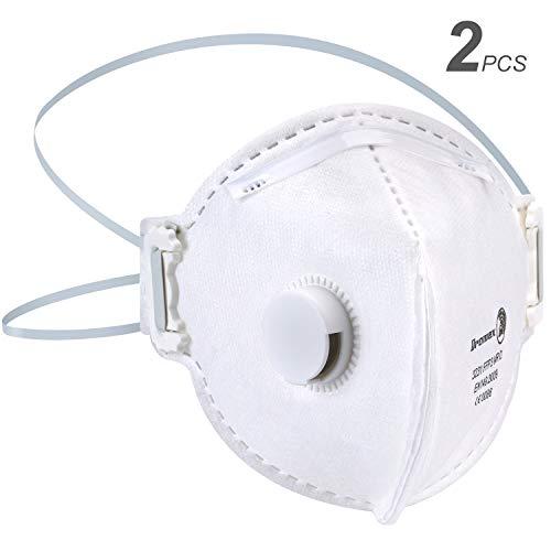 Máscara antipolución N95 Mascarilla Anti Virus Anti PM2.5 Polvo con Válvula,  Mascarilla autofiltrante para partículas Respiratoria Neumonía Protección contra la Gripe Máscar (FFP3 Mascarillas- 2PCS)