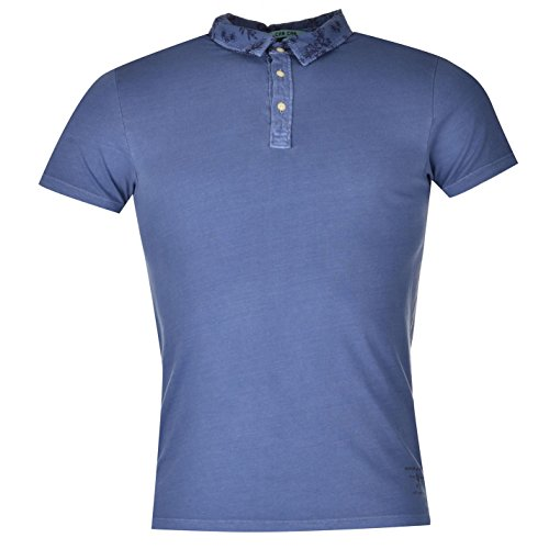 Scotch and Soda Herren Polo Shirt Kurzarm Freizeit Baumwolle Polohemd Poloshirt Blau...