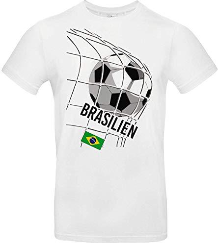 Kinder-Shirt Fussballshirt Brasilien, Land, Länder, Weiss, 128
