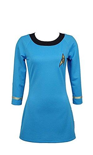 CosDaddy/ Star Trek Cosplay Kostüm weiblich Betriebsart Kurzarm Uniform Blau - Startrek Kostüm