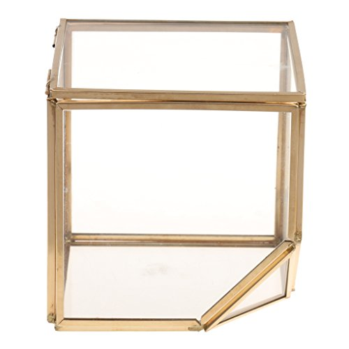MagiDeal Cubo Inclinado Geométrico Caja de Vidrio de Cobre Decoració