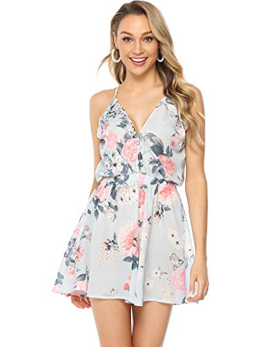 Floral Print Romper (Abollria Damen Kurz Overall mit Blumen Print Sexy V Ausschnitt Sommer Jumpsuit mit Taschen Casual Leicht Strandoverall für Urlaub)