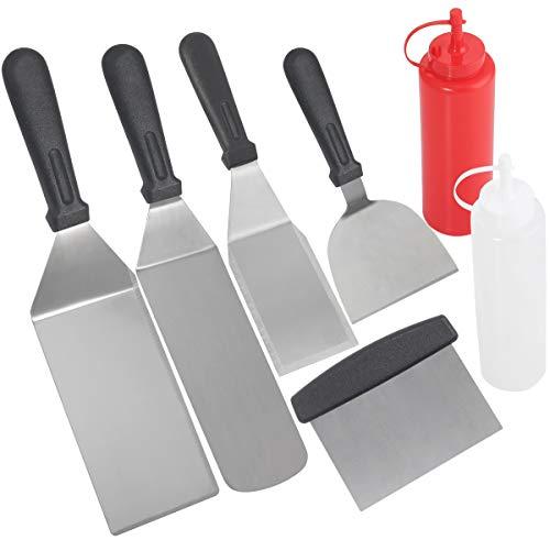 Grilljoy 7pcs set di spatole per barbecue professionali - set di utensili per griglia pesante con grande spatola, flipper, chopper - regalo di natale ideale per gli uomini papà