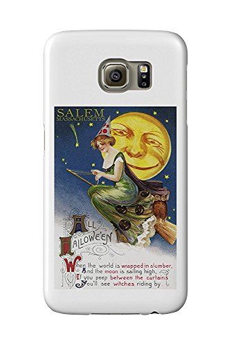 Salem, Massachusetts - Halloween Witch and Moon - Vintage Artwork (Galaxy S6 Cell Phone Case, Slim Barely There)