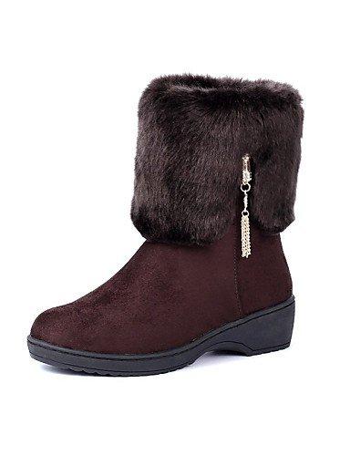 xzz/Damen Schuhe Fleece Plattform Snow Stiefel/Komfort/Runde Spitze Stiefel Kleid/Casual Schwarz/Braun/Rot, brown-us8.5 / eu39 / uk6.5 / cn40 (Stiefel Plattform Spitze Knie)