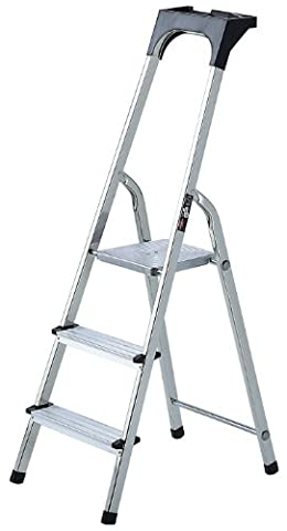 Brennenstuhl 1401270 Haushaltsleiter Aluminium mit Arbeitsschale 7 Stufen (Sk Leiter)