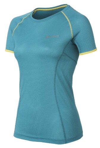 Odlo Deal T-shirt à manches courtes et encolure ras du cou pour femme Multicolore - Bleu capri/jaune