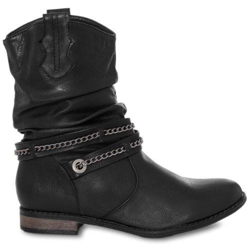 Cowboy Stiefelette mit Metallketten Dekor, Farbe:schwarz;Größe:37 ()