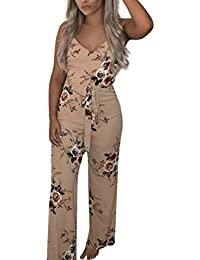 Moonuy Women Jumpsuit,Women Jumpsuit Summer,Women Jumpsuit Casual, Ladies Girl 2018 Fashion Sexy V-Neck Floral Printed Sleeveless Party Casual Bodysuit
