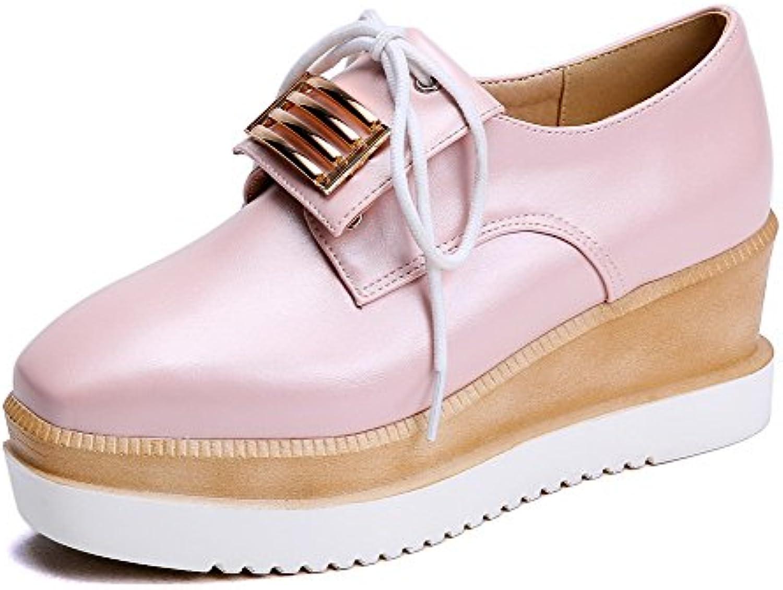 AllhqFashion Damen Quadratisch Schließen Zehe Mittler Absatz Schnüren Pumps Schuhe