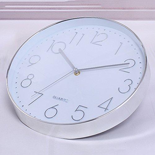 TOOGOO Reloj de pared moderno, 12 pulgadas Reloj de pared redondo de cuarzo interior silencioso universal decorativo grande Sin tic-tac para Sala de estar Cocina de oficina (Plata)