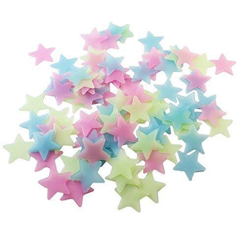 owikar 100Glowing Stars Wandaufkleber rot gelb blau sortiert Farben Luminous 3D Solider Wand Aufkleber 3cm für Kinder Baby-Raum - Halloween-bücher Christian