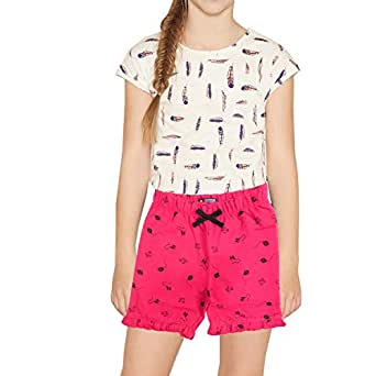 PP Jeans Shorts - Cotton Printed Shorts Capri Casual/Night wear Shorts for Girls & Kids(Pink)