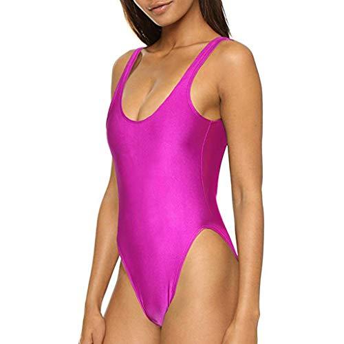 Boyleg Boyshort (NEEKY Badeanzüge Damen Neckholder Push-up Bikinis Badekleid Badeanzug mit Röckchen Bauchweg Einteiliger Badekleid - Einfarbig Sexy Plus Size Polyester Bademode Sets Swimsuit Beachwear)