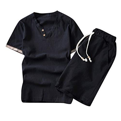 Xmiral Tee, T-Shirt Uomo Stretch SlimTee, T-Shirt Uomo T-Shirt Uomo Maglia Maglietta Pantaloni Impostato XXXL Nero-1