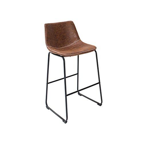 Invicta Interior Design Barstuhl Django Vintage Braun mit Eisengestell Barhocker Hocker Küchenstuhl Küche Hausbar Tresenstuhl Tresen Stuhl
