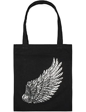 styleBREAKER Einkaufstasche mit Pailletten Flügel Applikation, Tragetasche, Canvas Stofftasche, Tasche, Unisex...