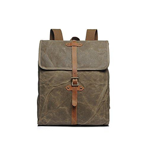 BAGEHUA Retro Hommes et femmes sac à dos en toile de sac à dos sacs de voyage sacs à dos étanche extérieur durable Sortie (Long 30cm Largeur 10cm Haut 40cm) 3 couleurs kaki