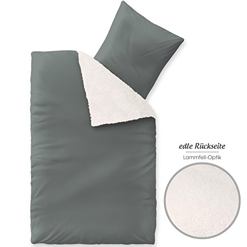 aqua-textil Arctic Bettwäsche 135x200 Set flauschig kuschlige weich wärmend Sherpa Lammflor Nerz Fell Felldecke Nicki Bettbezug Winterbettwäsche Reißverschluss Kissen Bezug 80x80, 1000530 grau