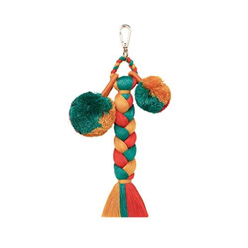 Floweworld Mode SchlüSselanhäNger Damen Layered Bunte Boho Pom Pom Quaste Tasche Charme PlüSch Ball Keychain - Pom Shorts Pom Mädchen