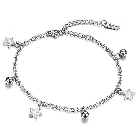 Dazzle Flash® Edelstahl hypoallergen fünfzackigen Stern Charm-Armbänder Fußkettchen für Fuß 2Möglichkeiten Jewelry B221–8