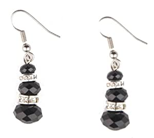 Jodie Rose Black Acrylic Bead and Clear Crystal Earrings