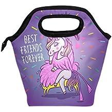 Bolsa de almuerzo, diseño de unicornio con flamenco, con texto en inglés