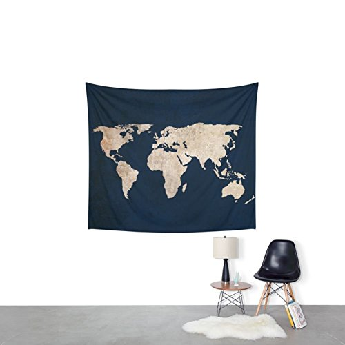 Exclusive handmade black Inverted Rustic World Map Wall Tapestry by raajsee