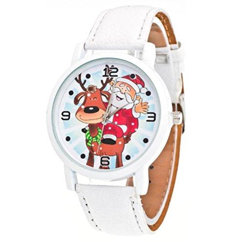Zolimx Weihnachten Älteres Muster Lederband Analog Quartz Vogue Uhren (Weiß)